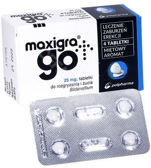Maxigra go  25 mg x  4 tabl do żucia